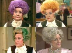 Mollie Sugden as the indomitable Mrs. Slocombe, of the many colored wigs.🎆 Forever may she reign. British Sitcoms, British Comedy, British Humour, Mollie Sugden, Are You Being Served, Fools And Horses, Keeping Up Appearances, All In The Family, Comedy Tv