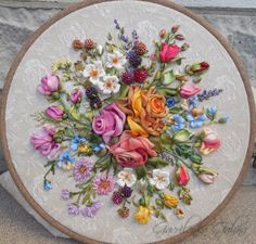 Colourful flowers #ribbonEmbroidery