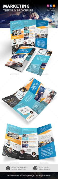 Marketing Trifold Brochure Design Template PSD, Vector EPS, InDesign INDD, AI Illustrator. Download here: https://graphicriver.net/item/marketing-trifold-brochure/21930858?ref=ksioks