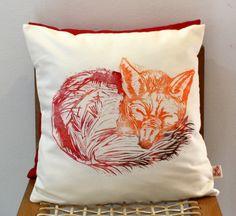 FREE SHIPPING Sleeping Fox hand block printed by KerryCherry