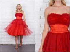 Vintage 50s Red Cocktail Dress Tulle Tiered A Line Party XXS 5967 by thekissingtree on Etsy https://www.etsy.com/listing/257310100/vintage-50s-red-cocktail-dress-tulle