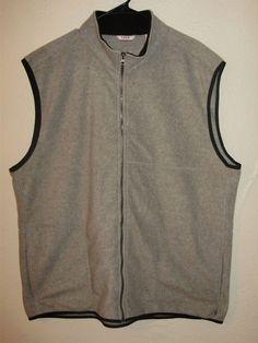 IZOD Men's Full Zip Fleece Vest, 2XL Grey Heather Pockets NWT #IZOD