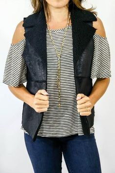 Love this shimmery vest over a cold shoulder tee! Jack by BB Faux Shearling Black Vest
