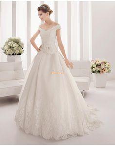 Spitzen-Looks Carmen-Ausschnitt Spitze Brautkleider 2015
