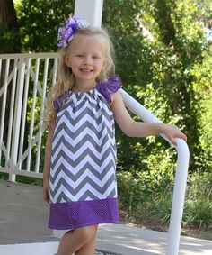 Look at this Gray Chevron Angel-Sleeve Dress - Infant, Toddler