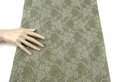 Sage Green Floral Shimmer Stretch Lace Fabric by by felinusfabrics