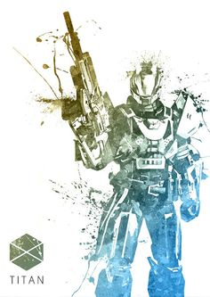 Destiny Titan Guardian Watercolor print/poster wall by SquidFold