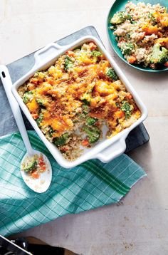 Cheesy Sausage, Broccoli, and Quinoa Casserole | We traded white rice for whole-grain quinoa and kicked out any processed ingredients for a new take on this comfort classic. Freeze an extra pan of this whole-grain main for kid-friendly comfort. To add more flavor to quinoa, try toasting it. Here's how: After you've rinsed and drained the quinoa, heat a saucepan over medium-high heat and add the quinoa. Toast, stirring, until the grains begin to smell fragrant.