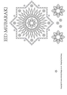 Eid Mubarak colouring card 1