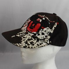 555b23503c2376 Mickey Mouse Red Face Black Ball Cap Disney Parks Fitted Youth 100% Cotton