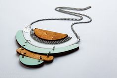 Statement necklace,  Geometric necklace in light blue and wood,Geometric Jewelry on Etsy, $91.42 AUD