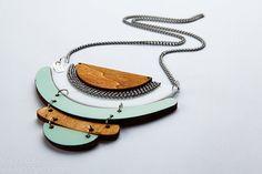 Statement necklace, Geometric Jewelry, Geometric necklace in light blue and wood,Geometric Jewelry