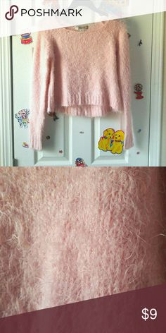 "Fuzzy Pastel Pink Cropped Sweater w/ sparkles Purchased this 2nd hand but didn't like the way it fit me.  In great condition! No flaws that I can find.   Tag is marked XS but I'd say it's a small/medium  Bust: 35"" Waist: 35"" Length: 16.5""  Pink, fuzzy sweater, fluffy sweater, pastel goth, fairy kei,  glitter, pastel, baby pink Sweaters Crew & Scoop Necks"