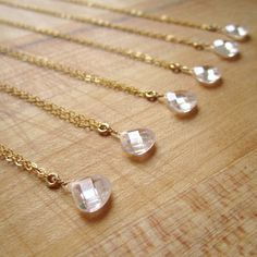 Bridesmaids Necklace  Cubic Zirconia  Gold by jewelrybycarmal, $20.00