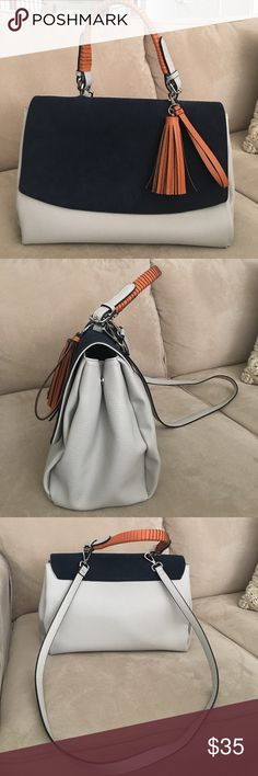Handbag Navy and light gray Zara suede and faux leather handbag with orange tassel. Only worn twice. Only reason to sell is lack of use, no damages or stains. Zara Bags Satchels