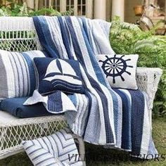 Nantucket throw and pillows - for inspiration only. This isnt crochet, but I could easily design an afghan with these simple beachy blue stripes in simple single crochet.