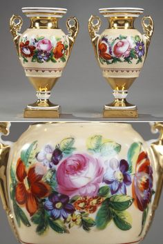 Pair of small gilded and whiteporcelainvases with an Etruscan shape. The body of the vases is in light ochre, and decorated with a highly detailed frieze of bright, polychromatic flowers. Porcelain Ceramics, Ceramic Pottery, Antiques Online, Decorative Objects, White Porcelain, French Antiques, Vases, 19th Century, Period