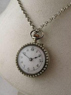 Fine Victorian Silver & Purple Guilloché Enamel Pocket Watch Pendant from blackwicks on Ruby Lane