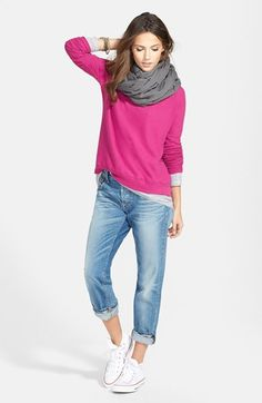 Stem Rib Sleeve Sweatshirt, Slub Tee & 7 For All Mankind® Relaxed Skinny Jeans  available at #Nordstrom