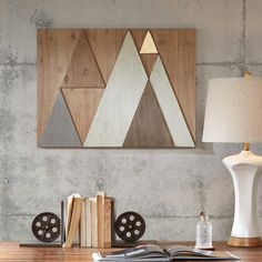 INK+IVY Ranger Wood Wall Decor in Natural - Olliix Ranger Wood Wall Decor brings a strong and modern look into your home. Made from natural wood, this wooden wall decor features a triangle design in subtle and bold tones with a go Wooden Wall Decor, Wooden Walls, Wall Wood, Cheap Wall Decor, Rustic Wall Art, Rustic Wood, Rustic Cabin Decor, Modern Cabin Decor, Creation Deco