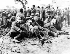 WW1, 1916, Somme.  German wounded captured in British first attack. These men are Baden troops