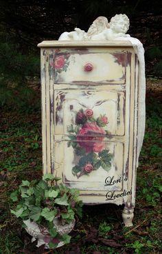 shabby chic, rose, paint, nightstand, cherub, distressed, vintage, white, romantic, #shabbychicfurnituremakeover