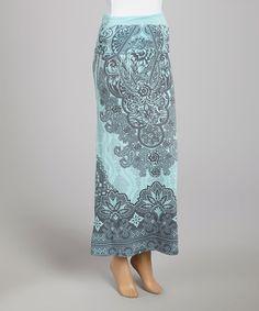 Blue & Black Brocade Maxi Skirt by Casalee #zulily #zulilyfinds