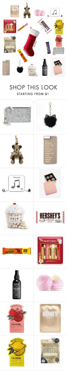 """#PolyPresents: Stocking Stuffers"" by madisonbreann ❤ liked on Polyvore featuring Tory Burch, LC Lauren Conrad, Burberry, Happy Plugs, Dylan's Candy Bar, Hershey's, Burt's Bees, NYX, Eos and TONYMOLY"