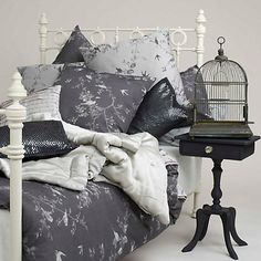 This Jigsaw Romantic Bird Duvet Cover combines greys and birds - I love the print. British Bedroom, Black Bed Linen, Beds Online, Duvet Sets, Quilt Cover, Beautiful Bedrooms, Linen Bedding, Grey Bedding, Luxury Bedding
