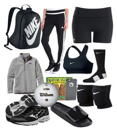 """whats in my volleyball bag?"" by campbelldickelman on Polyvore featuring Under Armour, NIKE, Mizuno, Melissa, Patagonia, adidas and OtterBox"