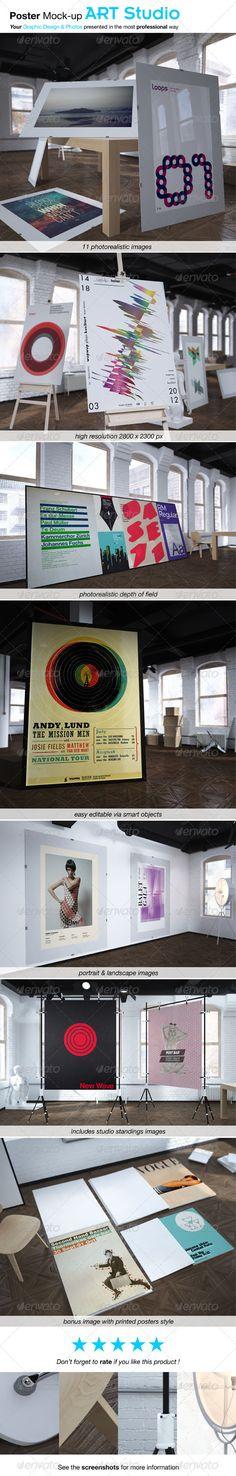 Poster Mockup ART STUDIO — Photoshop PSD #3d render #poster mock-up • Available here → https://graphicriver.net/item/poster-mockup-art-studio/2616511?ref=pxcr