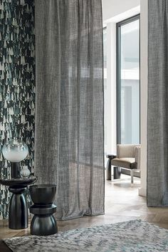 Collection Sheer Linen Curtains, Home Curtains, Curtains With Blinds, Window Curtains, Curtain Styles, Curtain Designs, Curtain Divider, Living Room Drapes, Casamance
