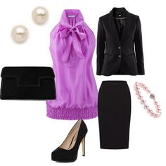 Love the lilac shell with the black pencil skirt suit.  Black pump and pearl jewelry round out the classic look.