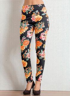 Calça legging floral.