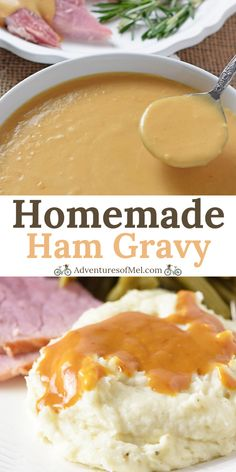 Homemade Ham Gravy made with leftover ham drippings and cream. Delicious side d - Ham - Ideas of Ham - Homemade Ham Gravy made with leftover ham drippings and cream. Delicious side dish with ham mashed potatoes and all the holiday fixings! Side Dishes For Ham, Pork Dishes, Side Dish Recipes, Sauce Recipes, Pork Recipes, Cooking Recipes, Recipies, Amish Recipes, Dutch Recipes
