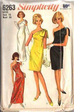 Simplicity 6263 Vintage One Shoulder Dress Sewing Pattern by DejaVuPatterns Dress Making Patterns, Vintage Dress Patterns, 60s Patterns, Clothing Patterns, Evening Gown Pattern, Vintage Outfits, Vintage Fashion, 1960s Fashion, Classic Fashion