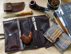 Leather Pipe & Tobacco Pouch in Brown and Grey Flannel  -- Sorringowl Signature version