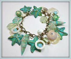 Turquiose Patina Starfish & Florida Shell Bracelet by BeadazzleMe, $30.00