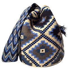 $80.00 Retail Price LARGE Mochila Wayuu Bag | RETAIL + WHOLESALE | Handmade and Fair Trade Wayuu Mochila Bags LOMBIA & CO. | www.LombiaAndCo.com Tribal Patterns, Crochet Patterns, Pocket Books, Tapestry Design, Boho Bags, Tapestry Crochet, Crochet Purses, Poufs, Retail Price