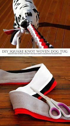 Dog Toy DIY: How to Weave a Square Knot Tug Toy (Includes Instructions, Pictures. - Dog Toy DIY: How to Weave a Square Knot Tug Toy (Includes Instructions, Pictures, and Diagram) - Homemade Dog Toys, Diy Dog Toys, Toy Diy, Diy Animal Toys, Baby Toys, Kids Toys, Diy Pour Chien, Dog Crafts, Dog Items