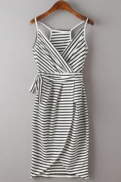 Cute striped dress. black and white striped racerback wrap around dress with tie waste. Stitch Fix Summer 2016