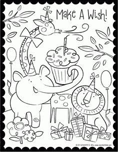 Cake Happy Birthday Party Coloring Pages