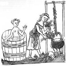 EDAD Medios y medicina, p. 49: Perspectivas y Curiosidad: la higiene Medieval Houses, Medieval World, Medieval Art, Medieval Fantasy, Medieval Crafts, Renaissance, Middle Ages Clothing, Fantasy Mermaids, Medieval Costume