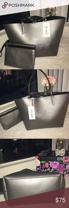 Kendall Kylie Metallic Tote w/ Wristlet 💫Make a offer💫  All orders made before 2pm pacific, ship same day Mon- Friday. I do not discuss prices via comments. Serious buyers, please feel free to submit a reasonable offer using the offer button.  NWT Kendall + Kylie Signature Handbag Tote w/ Pouch Wristlet - Metallic Charcoal color Kendall & Kylie Bags
