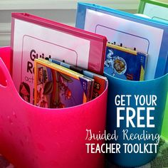 Color coded groups with bins! Teachers: Grab your FREE Guided Reading Teacher Toolkit from Karen Jones, filled with lots of materials to help you plan and track your Guided Reading groups. Guided Reading Lessons, Guided Reading Groups, Reading Centers, Reading Workshop, Reading Resources, Primary Resources, Classroom Resources, Classroom Decor, Reading Strategies