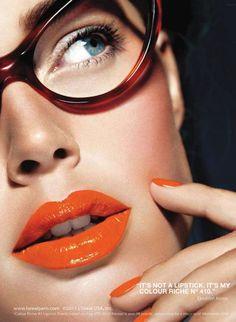 Touch of Orange: Lipstick // Original Pinner says: I am thinking .hummmmm I wore orange lipstick and orange scarf and eating on an orange plate, ate a papaya . Orange Lipstick, Lipstick Colors, Lip Colors, Red Lips, Orange Nails, Orange Makeup, Bright Lipstick, Colours, Lipstick Shades