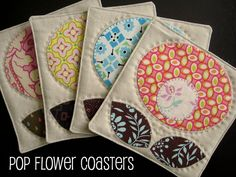 "FREE project: ""Pop Flower Coasters"" (from Bec/Chasing Cottons Quilt Designs)"