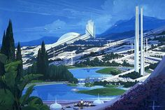 Futuristic white city by Syd Mead | Tree-filled and lake shore city