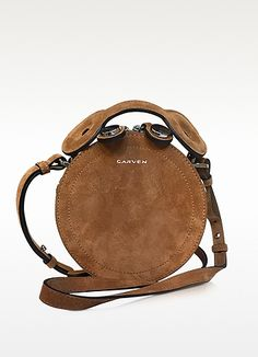 CARVEN Saint Sulpice Cognac Suede Small Round Bag. #carven #bags #shoulder bags #hand bags #suede #lining #