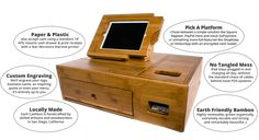 The Cashbox is an iPad Point of Sale (POS) Solution that integrates a credit/debit card reader, iPad, cash drawer, and receipt printer into an attractive and secure, full-featured POS system. It stands out from other iPad-POS Solutions because it is made of sustainable, natural materials and built locally in the USA.  http://www.happyowlstudio.com/the-cashbox.html#sthash.8iqKmPCF.dpbs